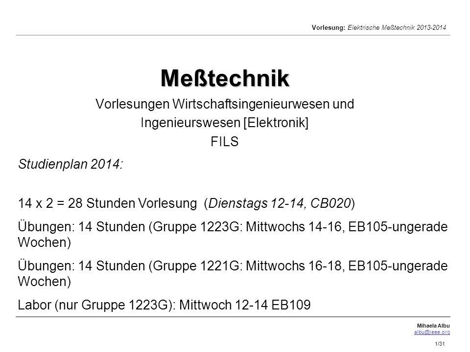 Meßtechnik Vorlesungen Wirtschaftsingenieurwesen und Ingenieurswesen [Elektronik] FILS